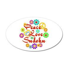 Peace Love Sudoku 35x21 Oval Wall Decal