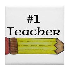 #1 Teacher Pencil Tile Coaster