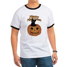 Vintage Halloween Cat In Pumpkin T