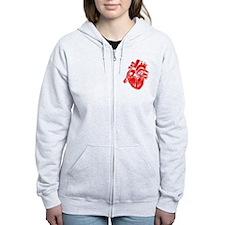Human Heart Red Zip Hoodie