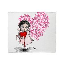 Malicious Valentine Girl Skull Heart Throw Blanket