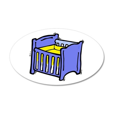 Baby crib blue graphic yellow mattress Wall Decal