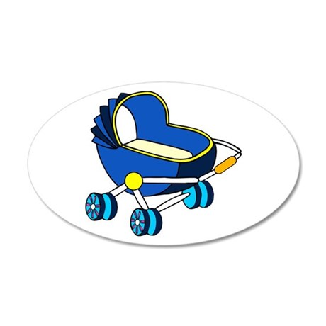 blue themed baby carriage graphic Wall Decal