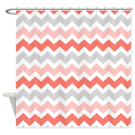 Coral Grey White Chevron Stripes Shower Curtain By DreamingMindCards