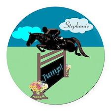 Fun Grand Prix Horse Jumper Round Car Magnet