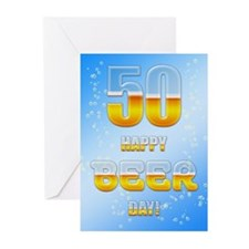 50th birthday beer Greeting Cards (Pk of 20)