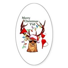 Stag man Christmas Oval Decal
