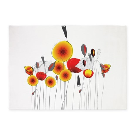 Contemporary California Poppies 5'x7'Area Rug