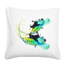 Cool waters Paint Splash Square Canvas Pillow