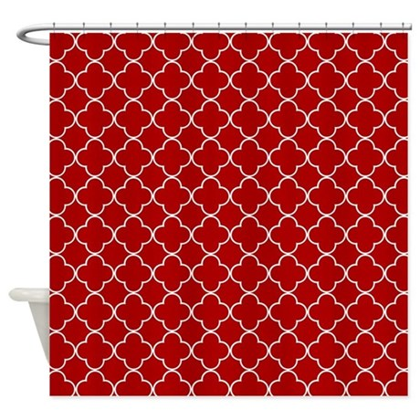 Red White Quatrefoil Shower Curtain By DreamingMindCards