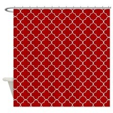 Red White Quatrefoil Shower Curtain