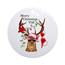 Smoking Redneck Christmas Ornament (Round)