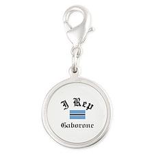 I rep Gaborone Silver Round Charm