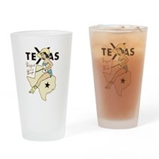 Vintage Texas Pinup Cowgirl Drinking Glass