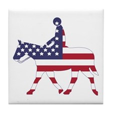 US Flag Horse Tile Coaster