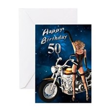 50th birthday sexy biker Greeting Card
