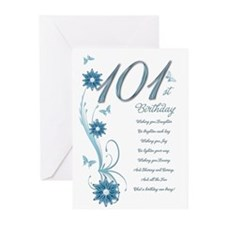 101st birthday in teal Greeting Cards (Pk of 10)