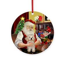 Santa's Havanese Puppy Ornament (Round)