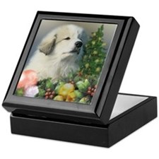 Great Pyrenees Keepsake Box, Christmas Puppy