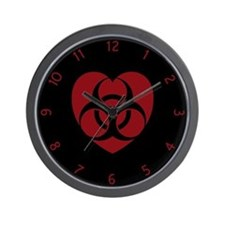 Red Biohazard Heart Wall Clock