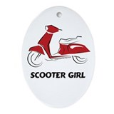 Scooter Girl (Red) Oval Ornament