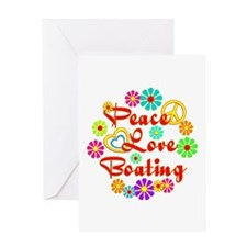 Peace Love Boating Greeting Card
