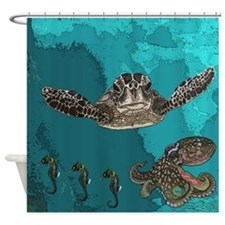 Seahorse Shower Curtains Seahorse Fabric Shower Curtain Liner