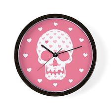 Heart Patterned Skull Wall Clock