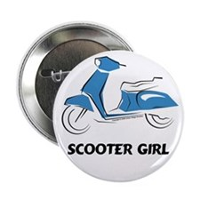 Scooter Girl (Blue) Button