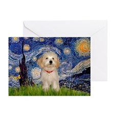 Starry Night Havanese Pup Greeting Cards (Pk of 1