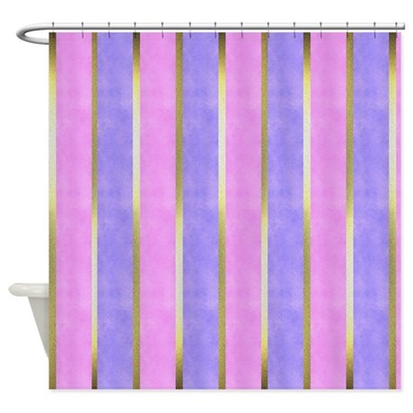 Pink Blue And Gold Striped Shower Curtain By GraphicAllusions