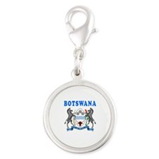 Botswana Coat Of Arms Designs Silver Round Charm