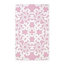 Baby Pink & White Lace Tile 3'x5' Area Rug