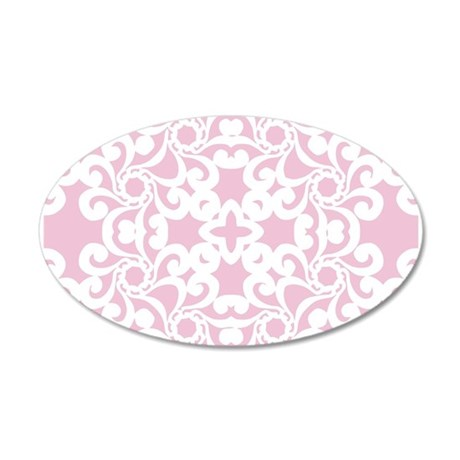 Baby Pink & White Lace Tile 35x21 Oval Wall Decal