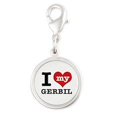 I love my Gerbil Silver Round Charm