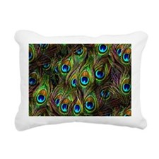 Peacock Feathers Invasion Rectangular Canvas Pillo