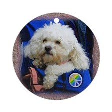 White poodle dog Ornament (Round)