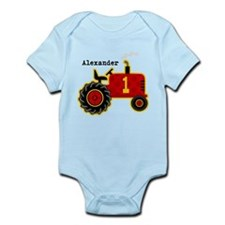 Red Tractor 1st Birthday Personalized Infant Bodys