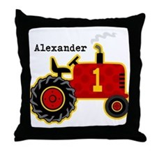 Red Tractor 1st Birthday Personalized Throw Pillow