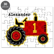 Red Tractor 1st Birthday Personalized Puzzle