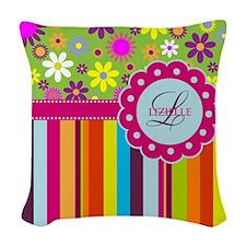 Custom Name Flower Background Woven Throw Pillow