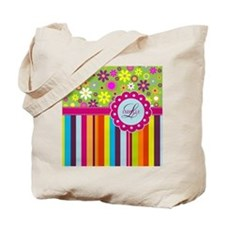 Custom Name Flower Background Tote Bag