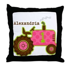 Pink Tractor 1st Birthday Personalized Throw Pillo