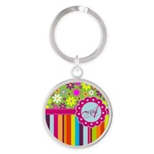 Custom Name Flower Background Keychains