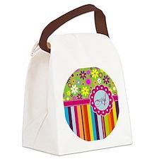 Custom Name Flower Background Canvas Lunch Bag