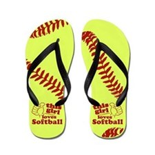 This Girl Loves Softball Flip Flops