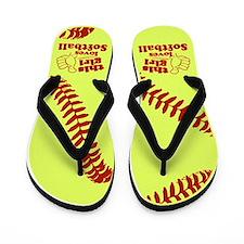 This Girl Loves Softball Flip Flops