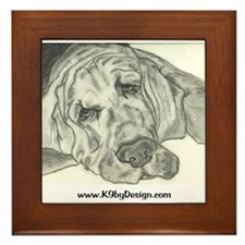 Bloodhound Sketch Framed Tile