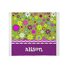 Colorful Flower Pattern Throw Blanket