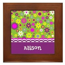 Colorful Flower Pattern Framed Tile